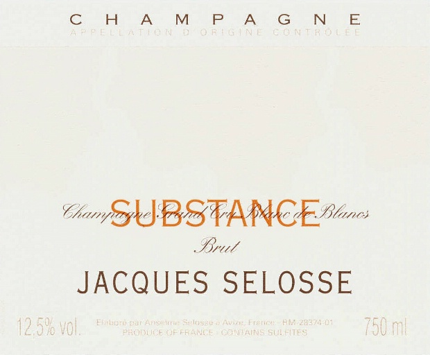 SUBSTANCE - Jacques Selosse Champagne l СЮБСТАНС, Блан де Блан - Жак Селос шампанское l купить цена доставка